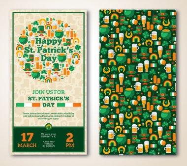 Set Of Vintage Happy St. Patricks Day Greeting Card or Flyer.