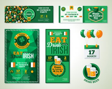 Set Of Happy St. Patricks Day Greeting Card or Flyer.