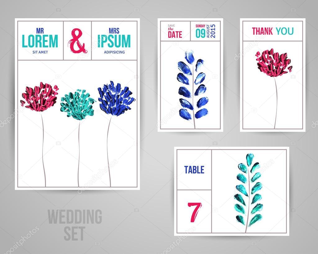 Hochzeit Einladung Karten Vorlage Mit Abstrakten Blumen Und Blattern