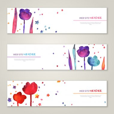 Vintage horizontal banners set with watercolor tulips and leaves
