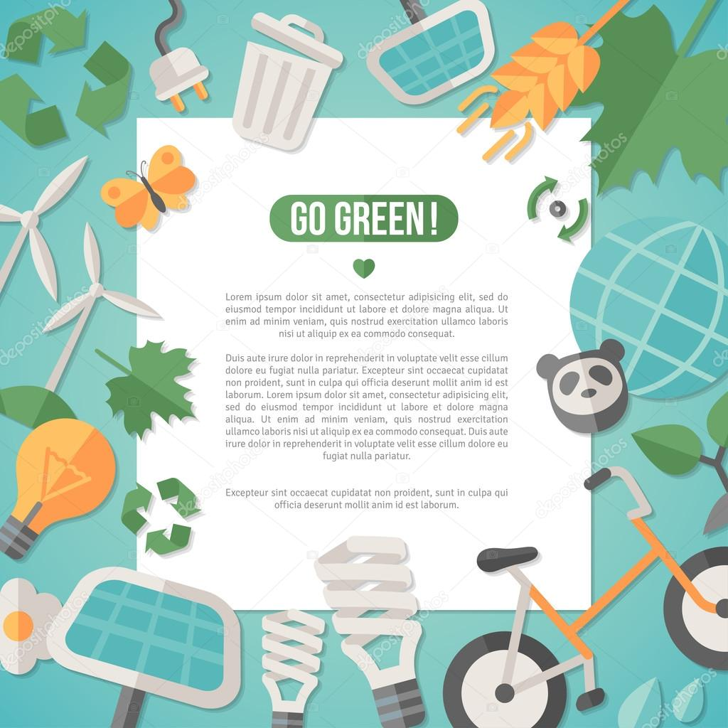 Flat design concept for ecology, recycling and green technology.
