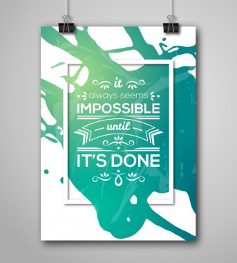 Motivational Poster Square Frame with Paint Splash.