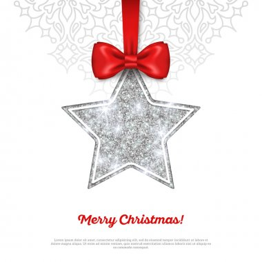 Greeting Card with Shining Silver Star Bauble and Red Ribbon