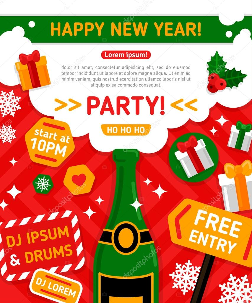 Merry christmas and happy new year party invitation card stock merry christmas and happy new year party invitation card vector illustration champagne bottle with foam typographic design new year 2016 poster stopboris Gallery