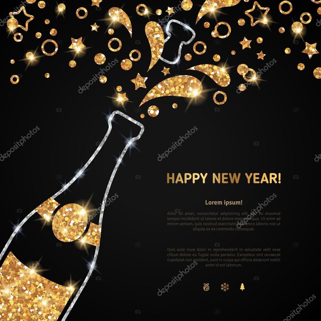 Frohes neues Jahr 2016 Grußkarte mit Sektflasche — Stockvektor ...