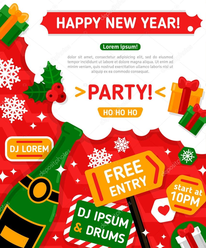 Merry Christmas and Happy New Year Party Invitation Card. — Stock ...