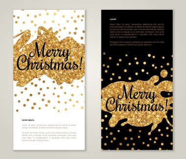 Greeting Card Set with Golden Paint Stains and Polka Dots.