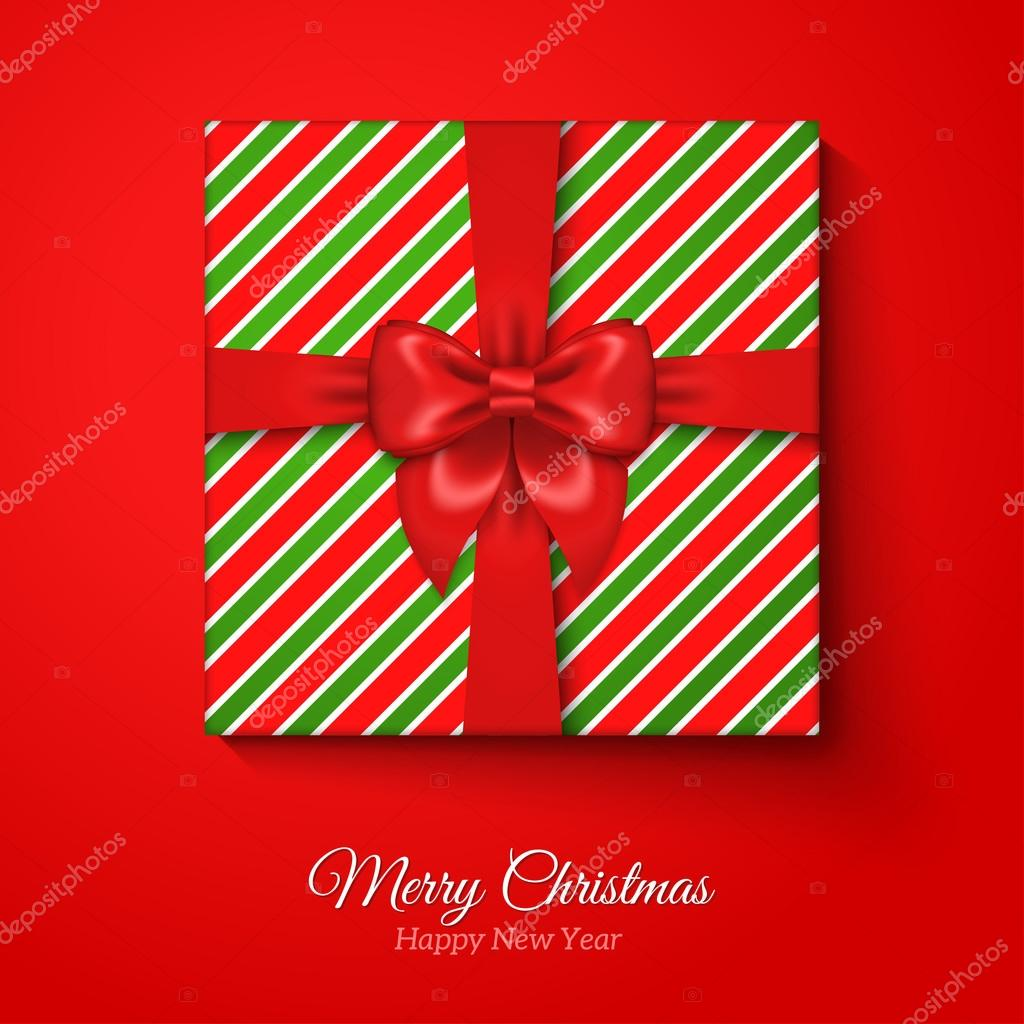 Merry Christmas Greeting Card With Striped Gift Box Stock Vector