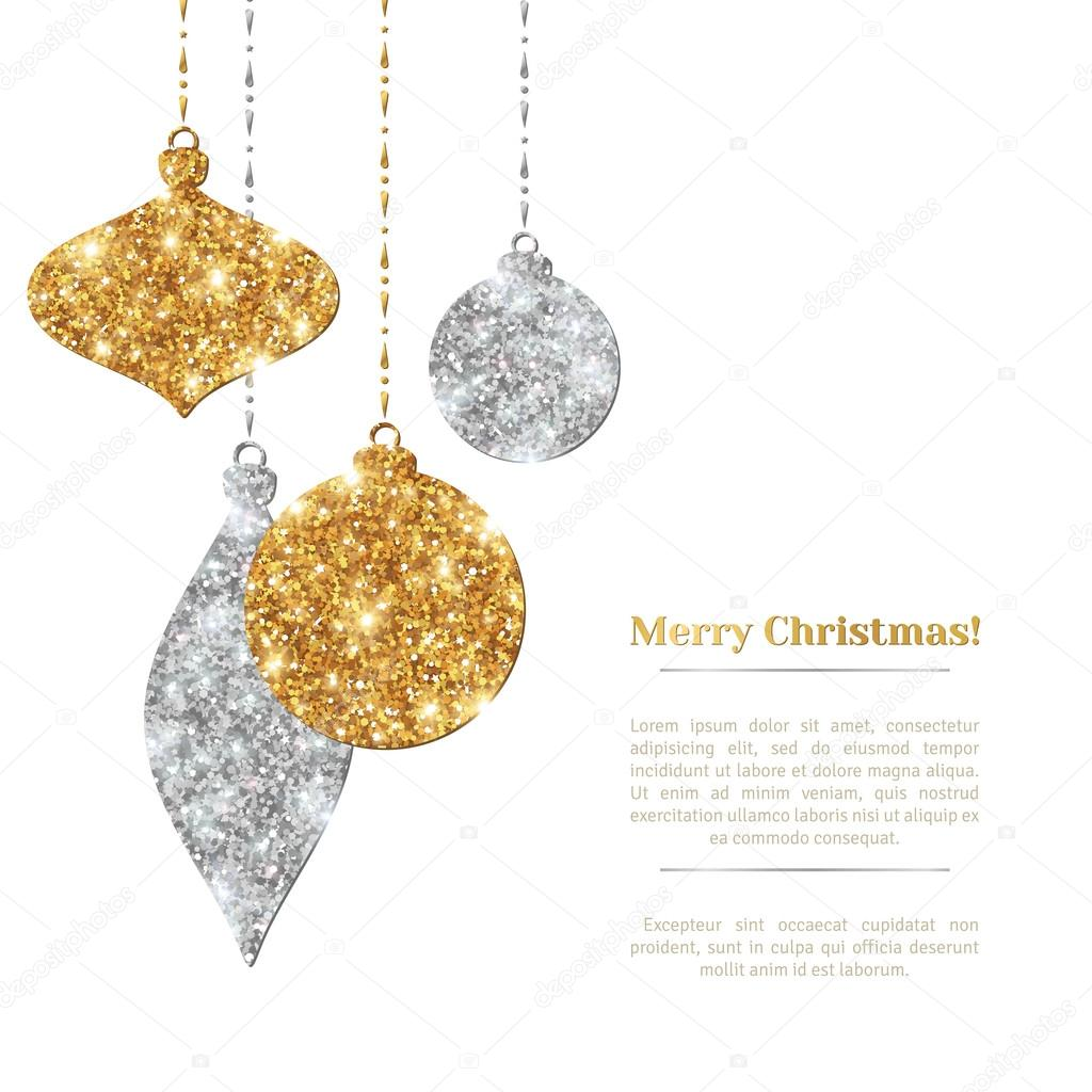 Weihnachten Hintergrund mit hängenden Kugeln Gold und Silber ...
