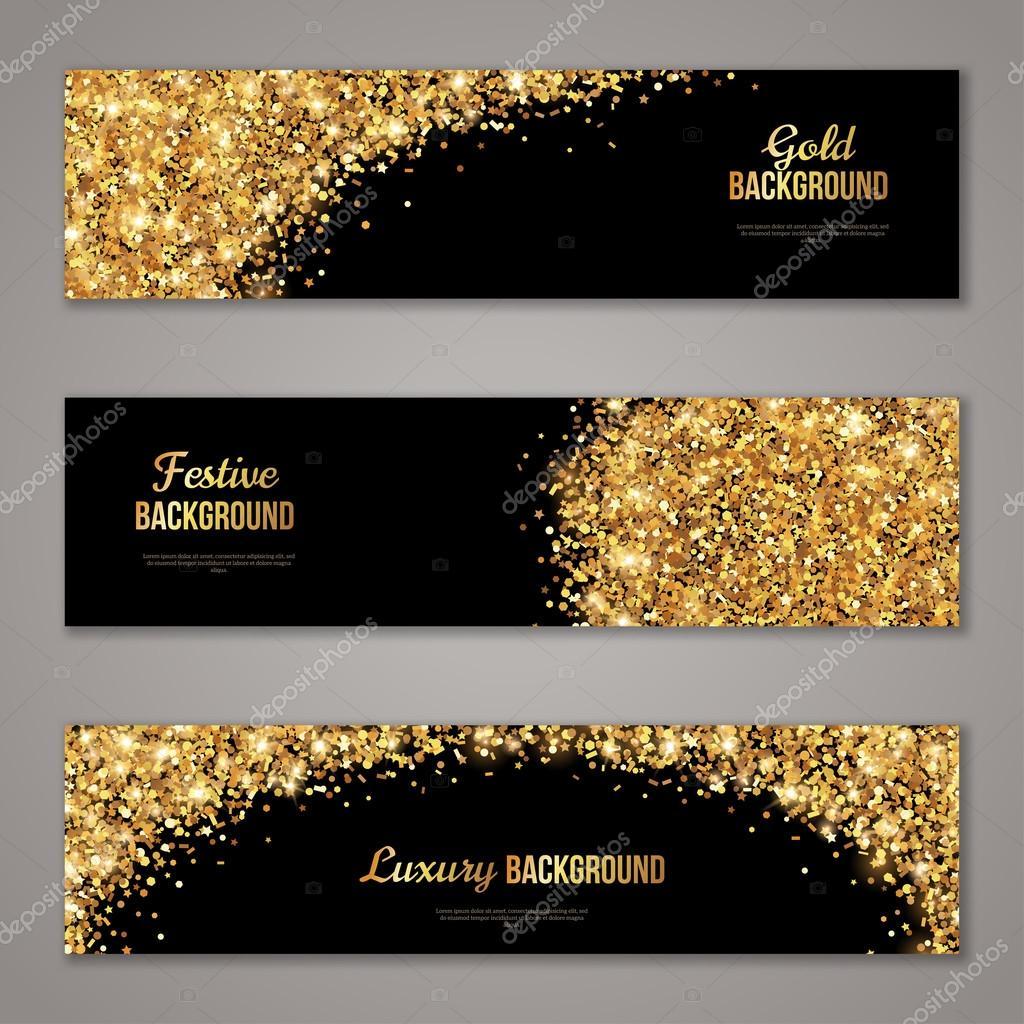 Horizontale Banner von schwarz und Gold-Set — Stockvektor © kotoffei ...