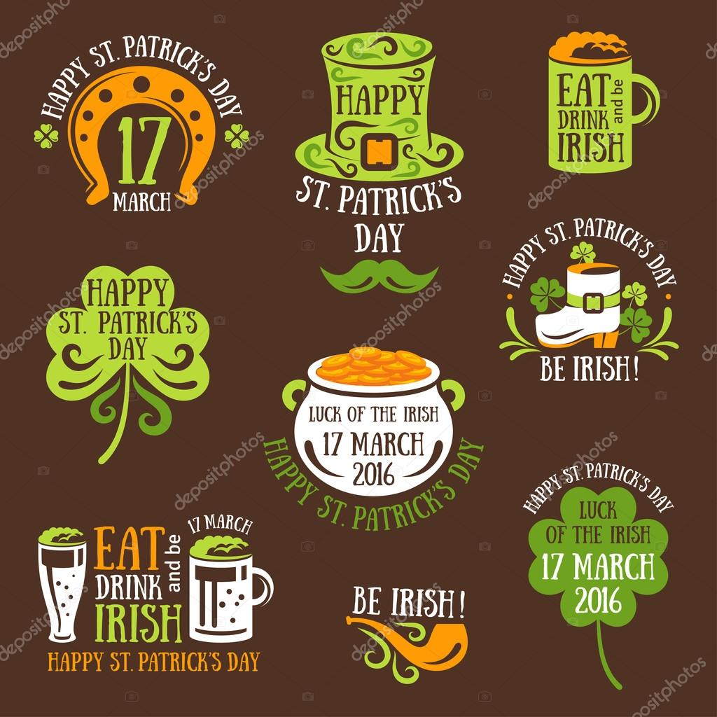 Happy St. Patrick Day Typography Emblems — Stock Vector © kotoffei ...