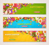 Banners with Easter Flat Icons in Circles