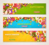 Banner mit flachen Easter Icons in Kreisen