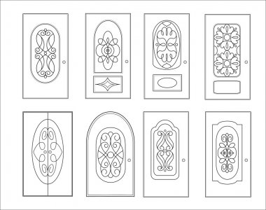 Classic interior and front wooden doors - simple vector for your design. Icon set isolated on white