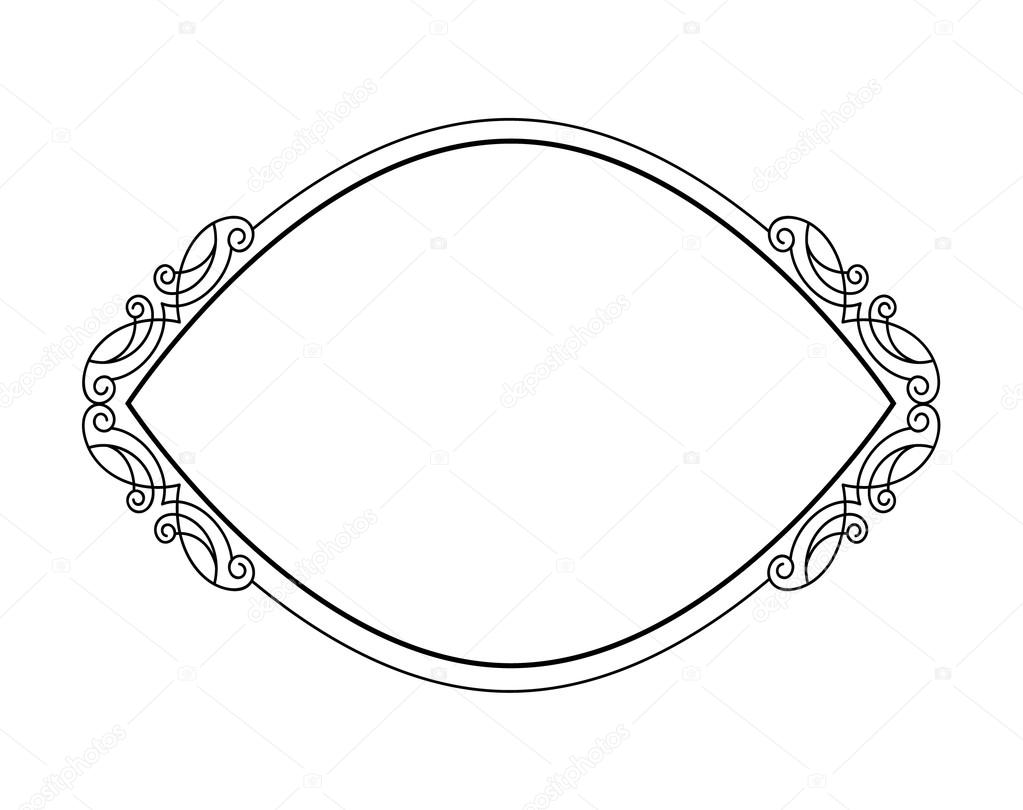 Frames .Vintage vector.Well built for easy editing.Black white.Oval ...