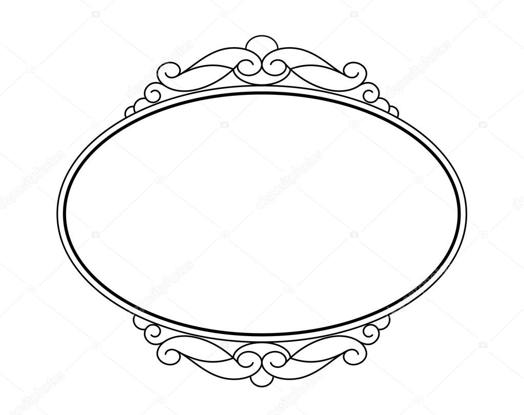 Frames .Vintage vector.Well built for easy editing.Black white.Oval ...