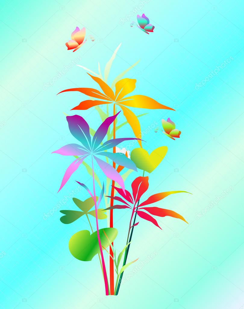 Exotic plants with butterflies.Vector.