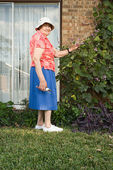 Photo Senior woman gardening