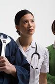 Porträt der Mechaniker, Krankenschwester und Lehrerin