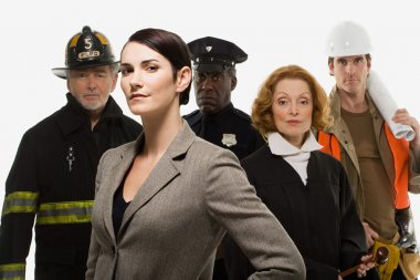 Firefighter, police officer, judge, construction worker and businesswoman