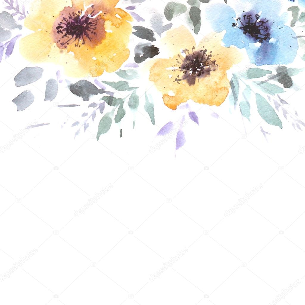 Watercolor Flowers Background Invitation