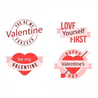 Valentines day badge collection flat design icon