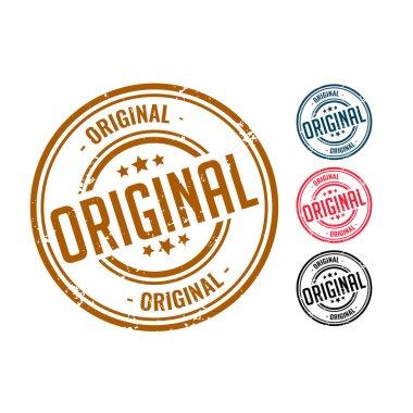 Four original rubber seal stamp set design icon