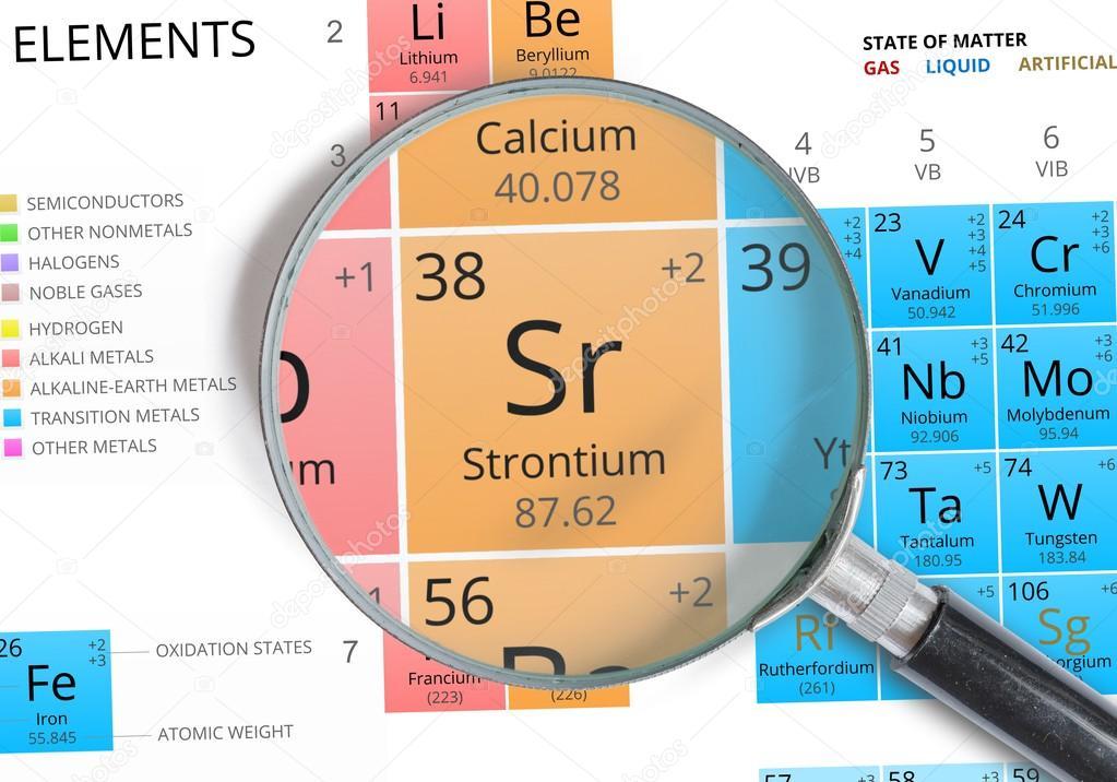 Strontium symbol sr element of the periodic table zoomed with strontium symbol sr element of the periodic table zoomed with magnifying glass stock urtaz Images