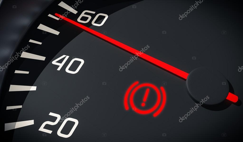 Brake system warning light in car dashboard  3D rendered