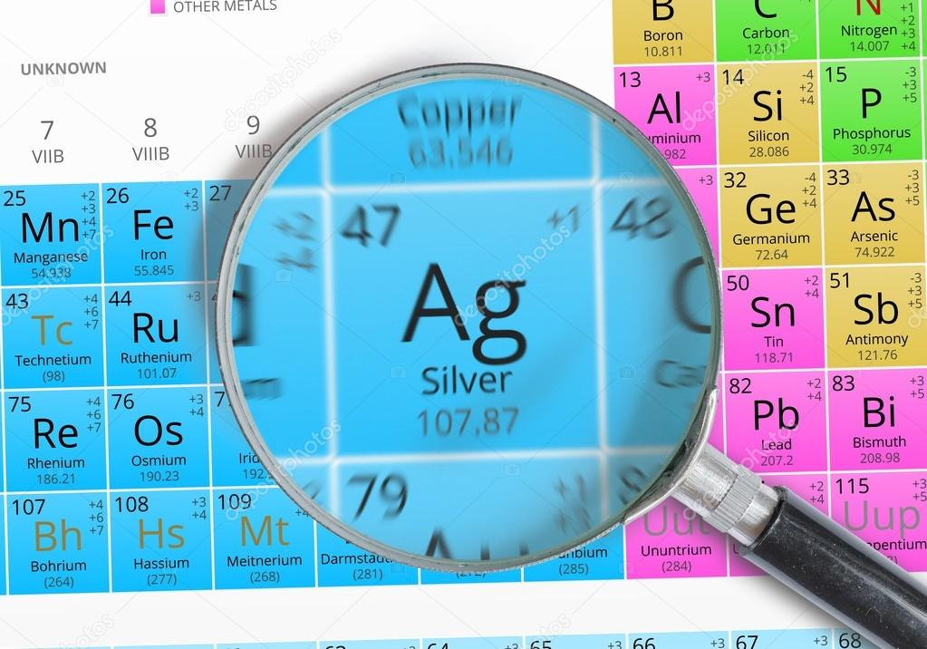 Silver element of mendeleev periodic table magnified with silver element of mendeleev periodic table magnified with magnifier stock photo urtaz Gallery