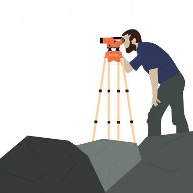 Male Surveyor on a Rock
