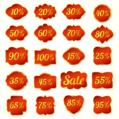 Gold and red set of labels percent for sales