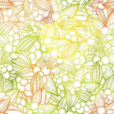 Seamless pattern of stylized leaves and fruits