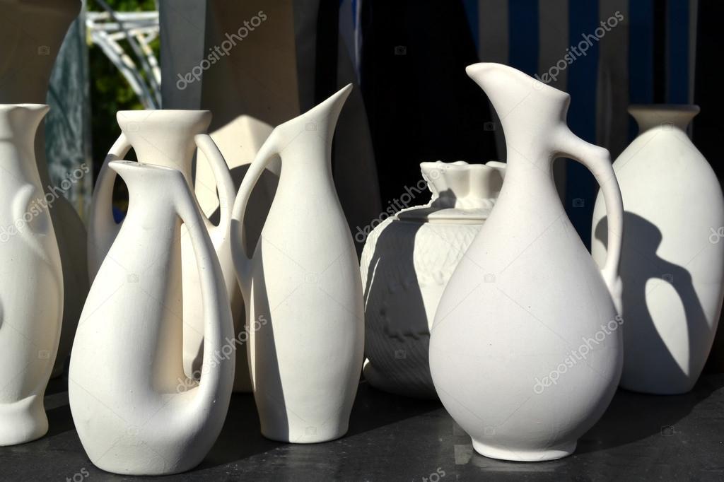 Jarrones de cer mica de arcilla blanca foto de stock for Arcilla para ceramica
