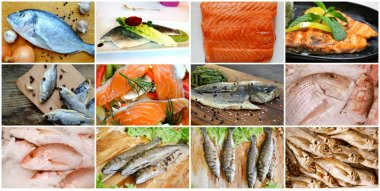 Collage of different types of cooked and raw fresh fish
