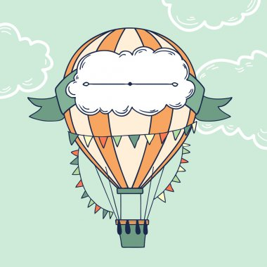 Air balloon with party ribbon