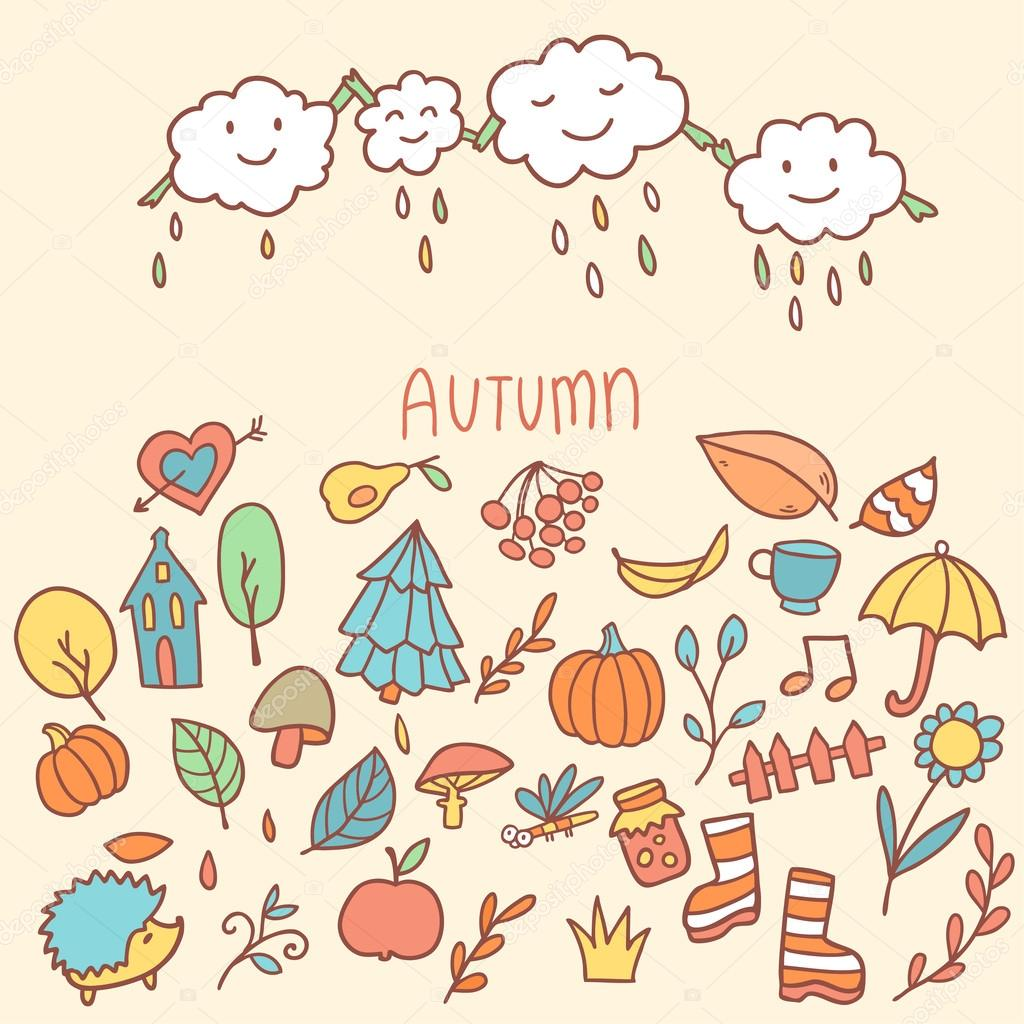 Autumn background with cartoon raining clouds and elements