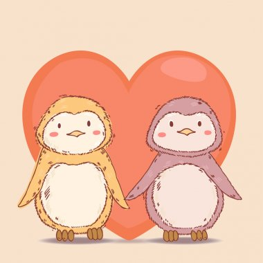 Vector lovely cartoon penguins together in love with big red heart on background clip art vector