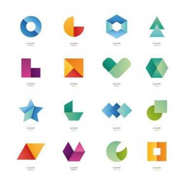 Simple geometric shapes.
