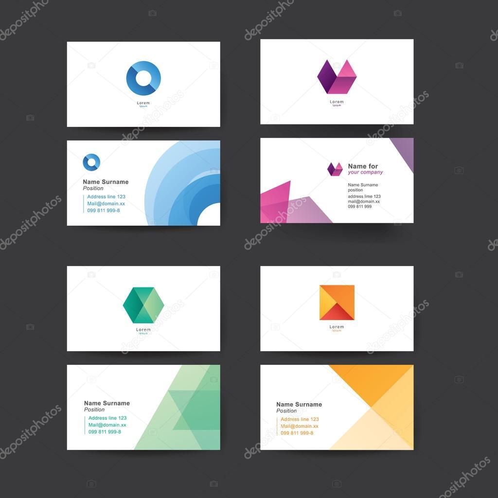 Cartes De Visite Abstract Vector Modles Colors Pour Graphiques Vectoriels Ditables Pack Quatre Vecteur Par Vitek75