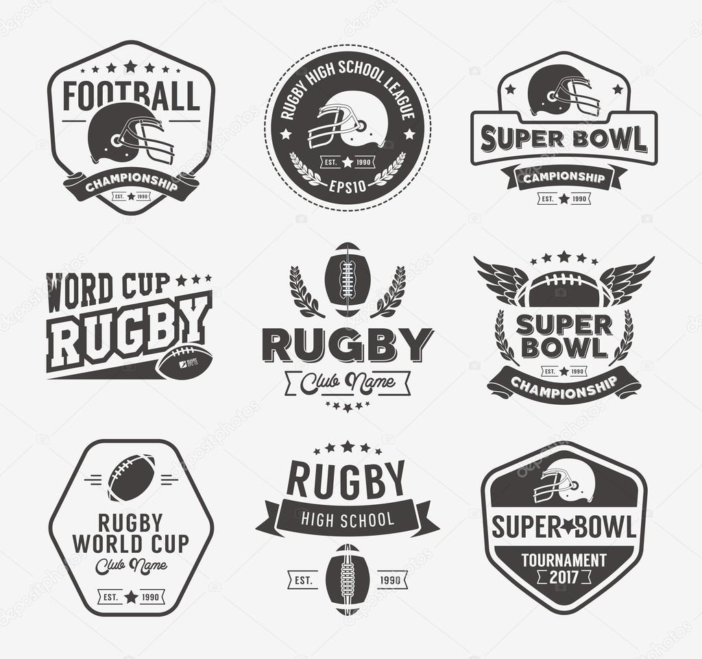 rugby logo vector set football badge logo template stock vector