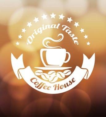 Premium coffee label design over blurred lights background