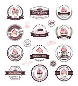 Vintage retro cupcakes and bakery badges and labels