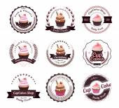 Fotografie Vintage retro cupcakes and bakery badges and labels