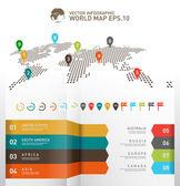 Světová mapa infografiky, digitální mapa světa s ukazatelem značky