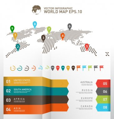 World map infographics, Digital world map with pointer marks.