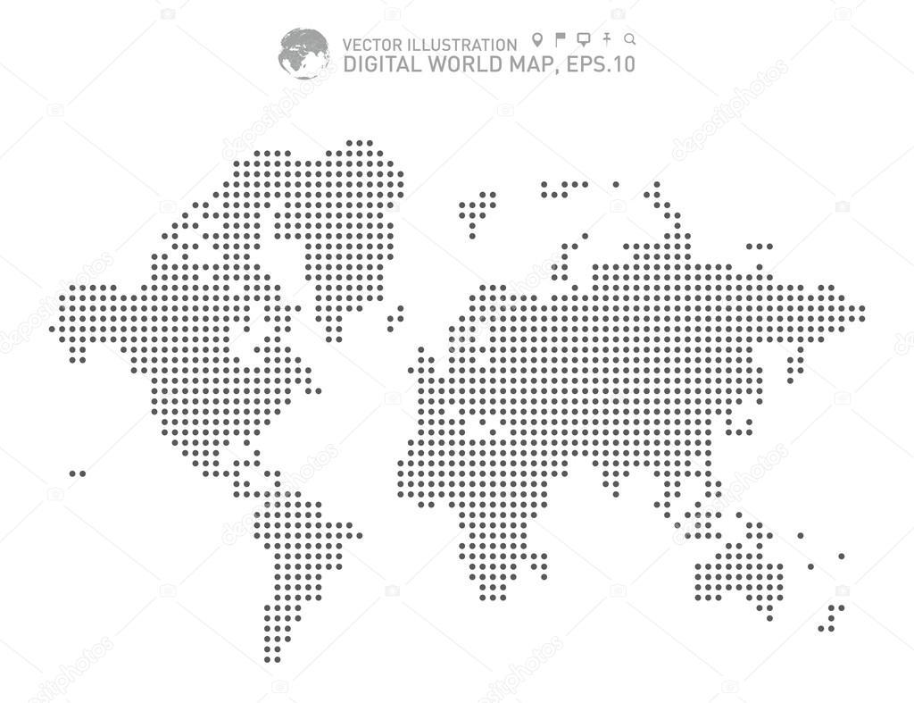Digital World Map Dotted World Map Stock Vector C Siak10b 83933698