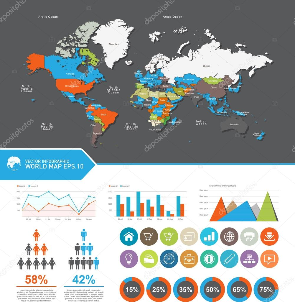 World map countries set elements of infographics world map and world map countries set elements of infographics world map and information graphics gumiabroncs Choice Image