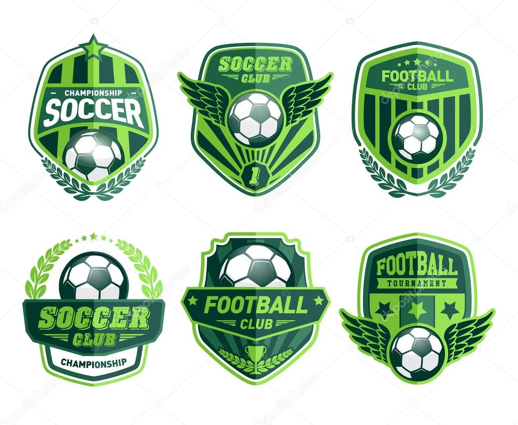 Set of Soccer Football Crests and Logo Emblem Designs
