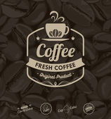 Vector Coffee Labels Isolated Coffee Beans Background